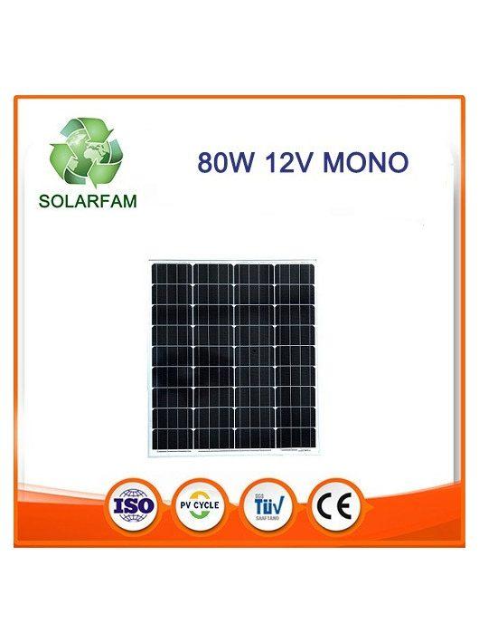 80W 12V monokristályos napelem alumíniumkerettel