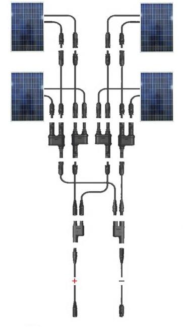 4 db párhuzamosan kötött napelem sematikus ábra