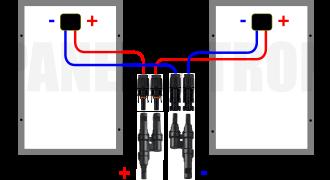 Két napelem párhuzamos kötése mc4 ábra