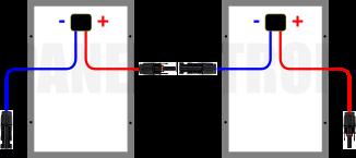Két napelem sorbakötése mc4 ábra